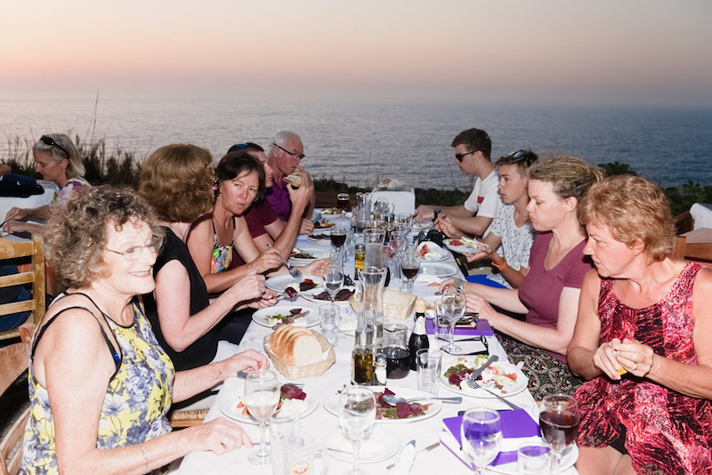 Family style dining in Ikaria
